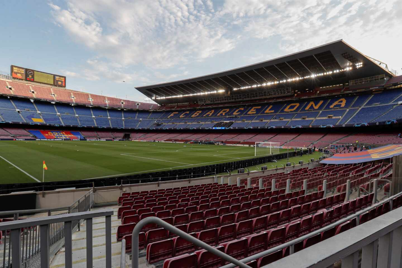 Vista del estadio Camp Nou de Barcelona, vacío.