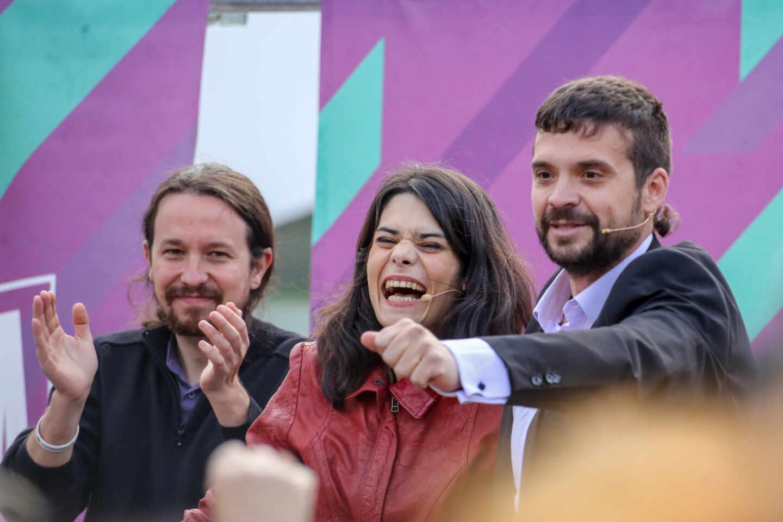 Pablo Iglesias e Isa Serra en un acto de Unidas Podemos en Alcorcón