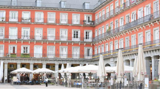 Terrazas de la Plaza Mayor de Madrid.