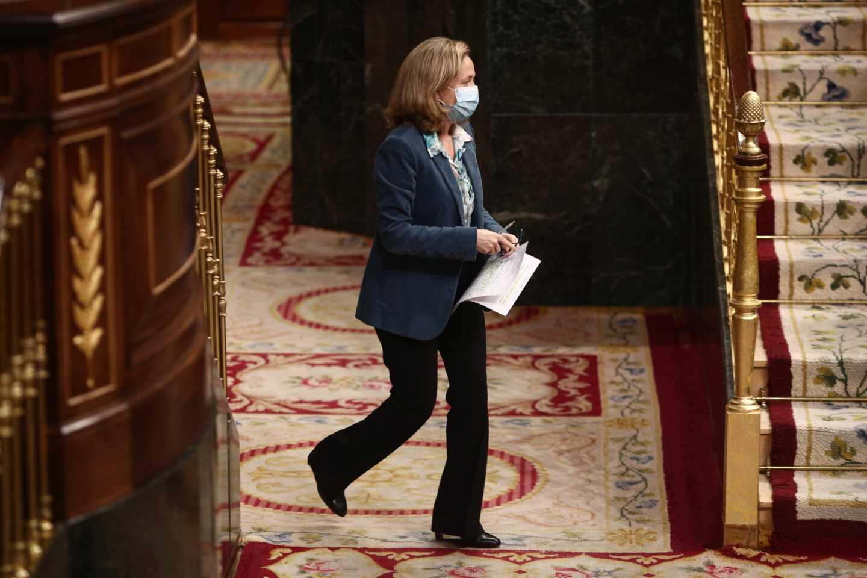La vicepresidenta tercera y ministra de Asuntos Económicos y Transformación Digital, Nadia Calviño, en el Congreso