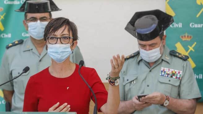 La directora general de la Guardia Civil, María Gámez, durante su intervención en la presentación de los resultados de una operación policial.