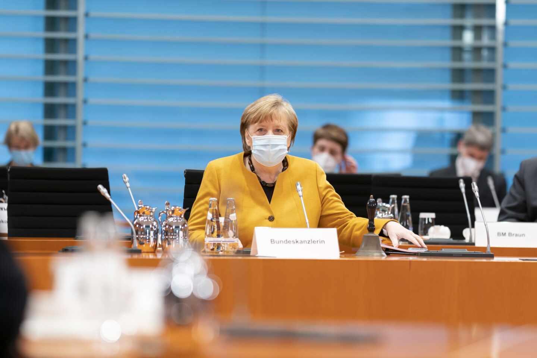 Angela Merkel, canciller alemana, en la reunión semanal con su gabinete