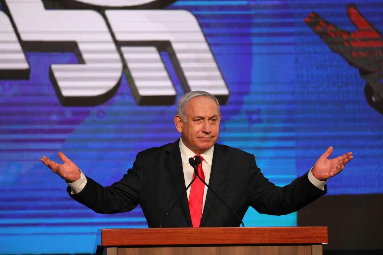 El primer ministro israelí, Benjamin Netanyahu, en el cuartel general del Likud