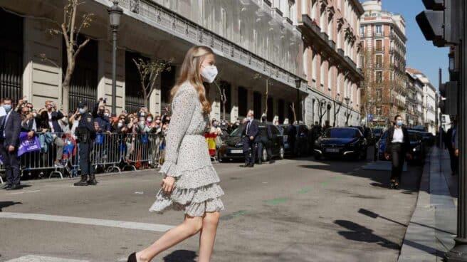 La princesa Leonor, a su llegada a la sede del Instituto Cervantes en Madrid.