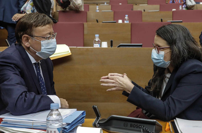 El presidente de la Generalitat valenciana, Ximo Puig, y la vicepresidenta Mónica Oltra.