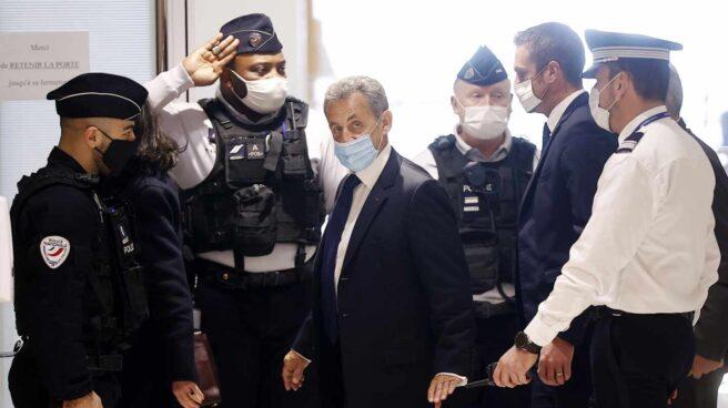 El expresidente Nicolas Sarkozy en su llegada a un tribunal de París