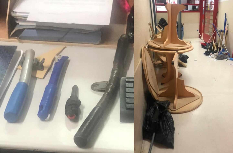 Armas con las que los presos de Palma II agredieron a los funcionarios de prisiones del Módulo.