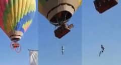 VÍDEO   El impactante momento en que un hombre quedó colgado de un globo aerostático