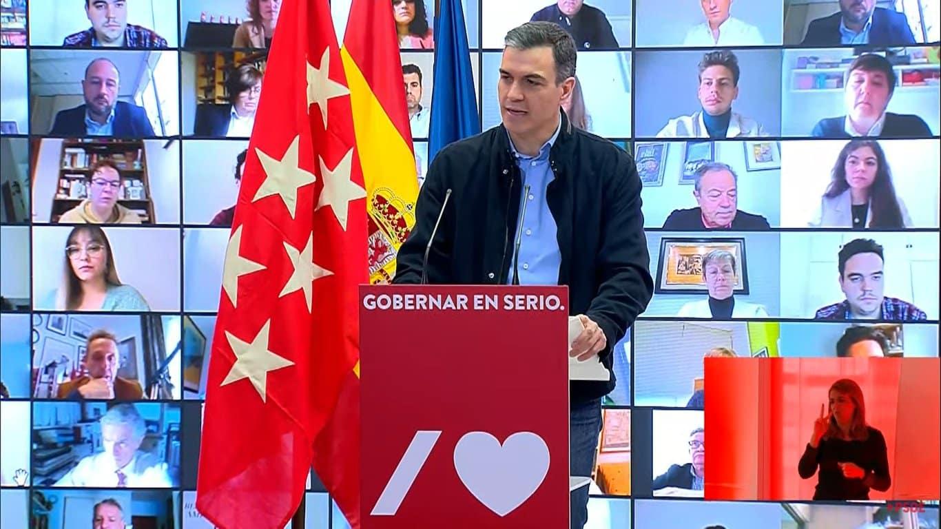 El presidente del Gobierno, Pedro Sánchez, en el acto electoral de este sábado.