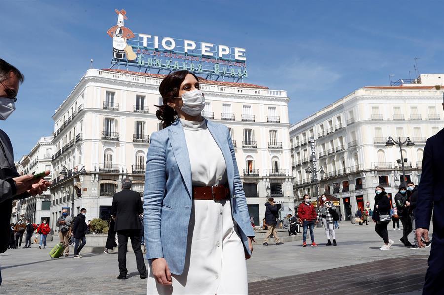 Isabel Díaz Ayuso, en la Puerta del Sol.