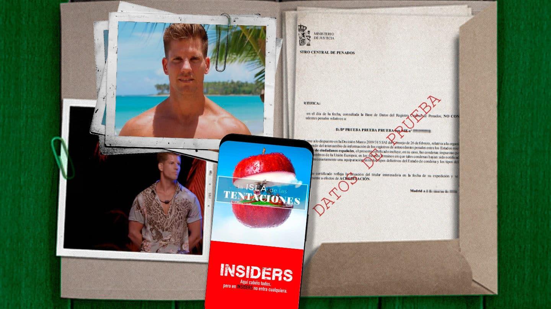 Imagen de Carlos Algora metiso en una carpeta con un documento de antecedentes penales y un móvil con el logo de La Isla de las Tentaciones e Insiders de Netflix