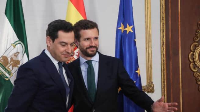El líder del PP, Pablo Casado; y el presidente de la Junta de Andalucía, Juanma Moreno