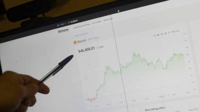 Imagen de una pantalla en la que aparece la cotización del Bitcoin