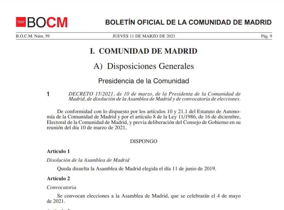 Decreto de convocatoria electoral y disolución de la Asamblea en el Boletín Oficial de la Comunidad de Madrid.