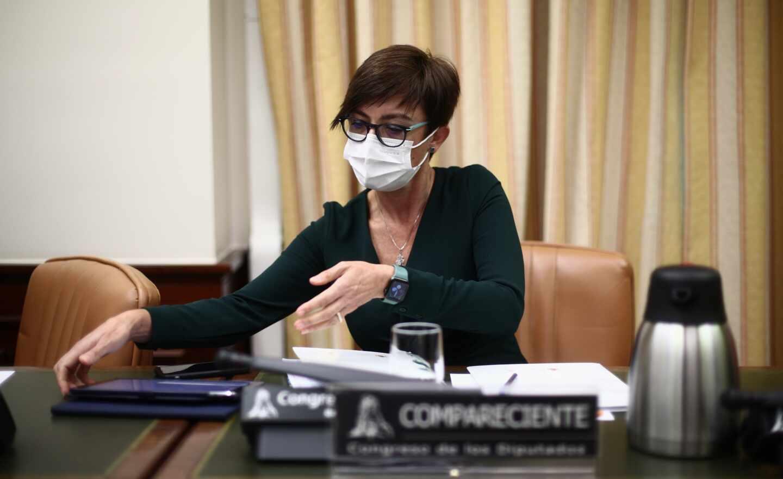 La directora general de la Guardia Civil, María Gámez, este jueves en la Comisión de Interior del Congreso de los Diputados.