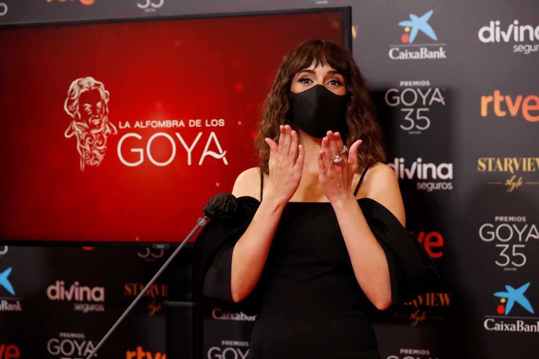 La actriz Belén Cuesta a su llegada hoy Sábado a la gala de la 35 edición de los Premios Goya