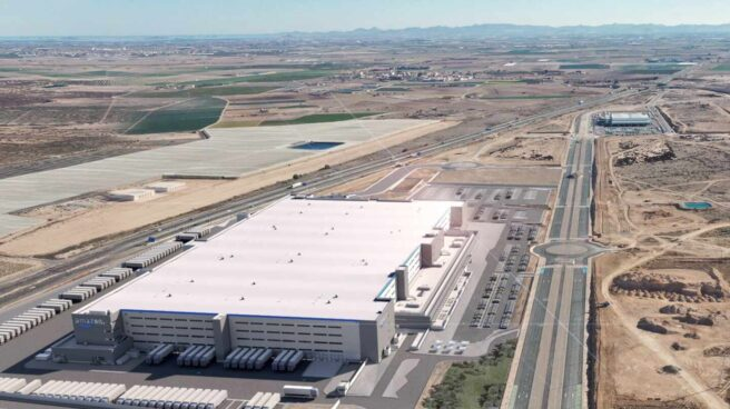 Imagen aérea del centro logístico de Amazon en Murcia