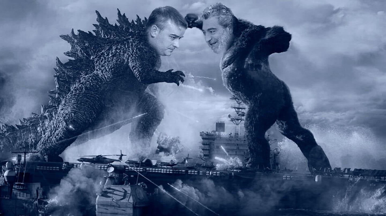 Imagen del montaje del cartel de la película Godzilla vs. Kong con Iván Redondo y Miguel Ángel Rodriguez