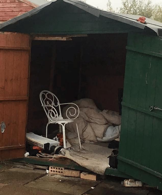 Imagen del cobertizo donde estaba el secuestrado