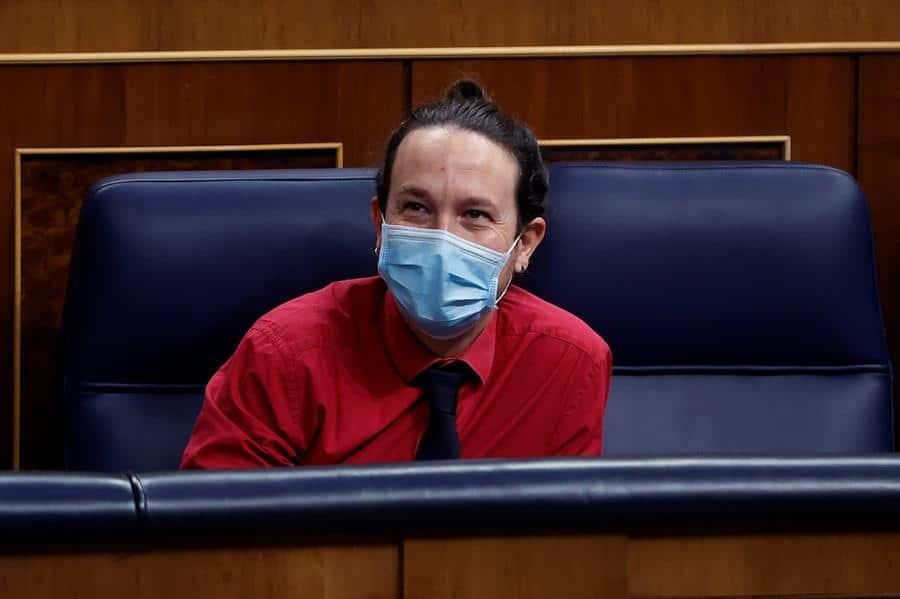 El líder de Unidas Podemos, Pablo Iglesias, en el Congreso.