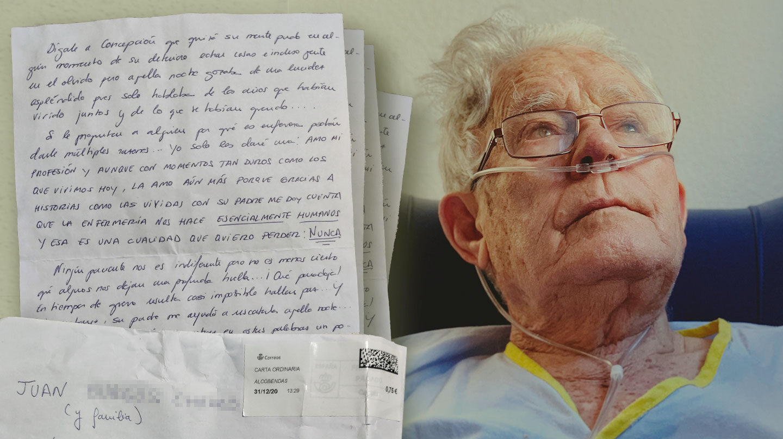 Carta de la enfermera anónima a la familia y foto de Gregorio en una hospitalización previa