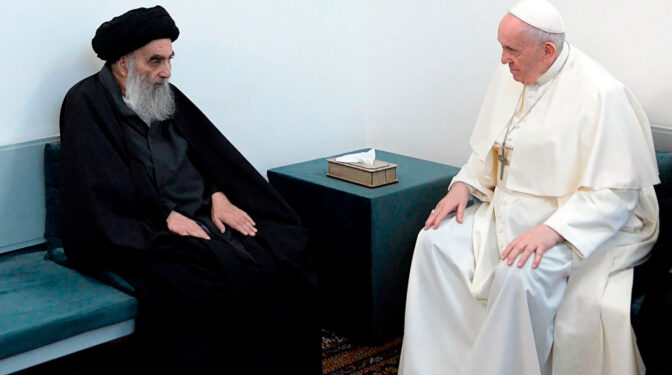 Encuentro histórico del Papa Francisco y el ayatolá Al Sistani en Nayaf