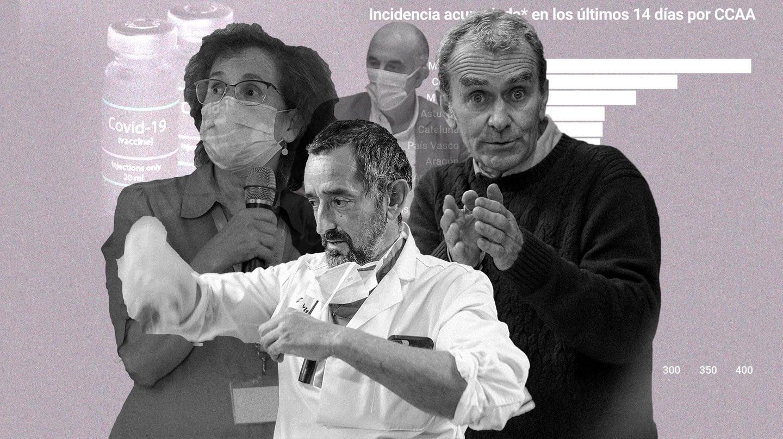 Montaje de los influencers de la pandemia: Margarita del Val, Pedro Cavadas (abajo), Antonio Zapatero (arriba) y Fernando Simón.