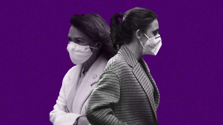 Montaje de Irene Montero y Carmen Calvo enfrentadas
