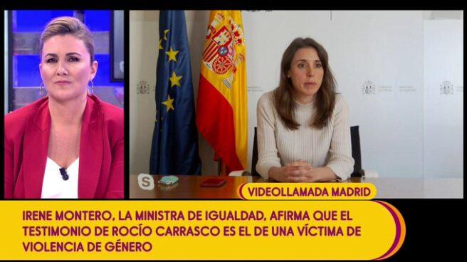 La ministra de Igualdad, Irene Montero, interviene en directo en Sálvame.