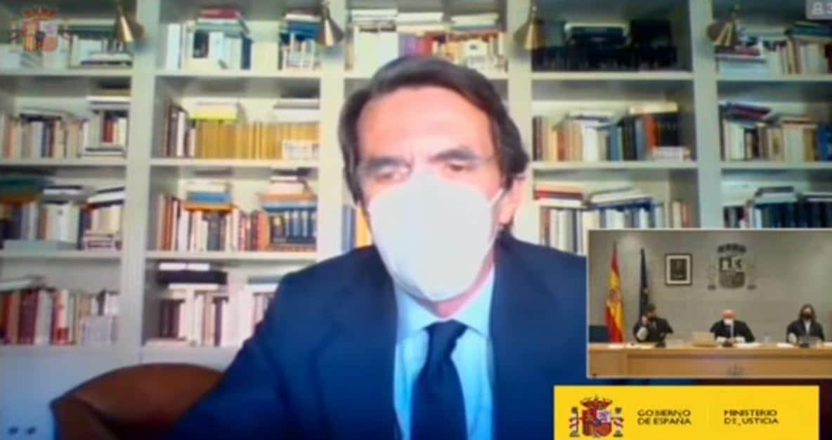 José María Aznar declara de forma telemática como testigo en la Audiencia Nacional.