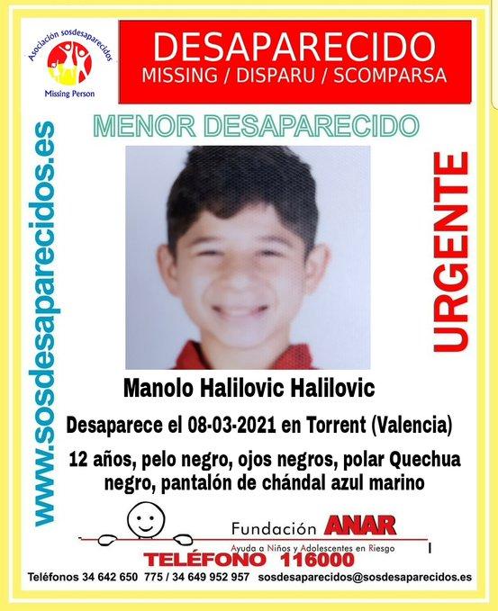 Cartel de búsqueda del niño desaparecido