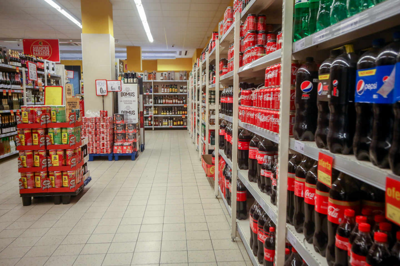 Un pasillo de un supermercado de Madrid.