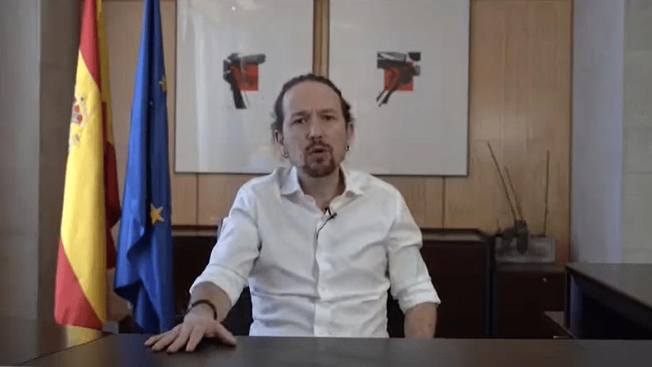 Captura del vídeo donde Pablo Iglesias anuncia que deja el Gobierno para presentarse como candidato en la Comunidad de Madrid.