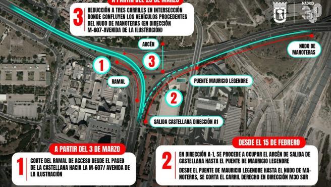 Plano descriptivo de las obras del Nudo Norte en Madrid.