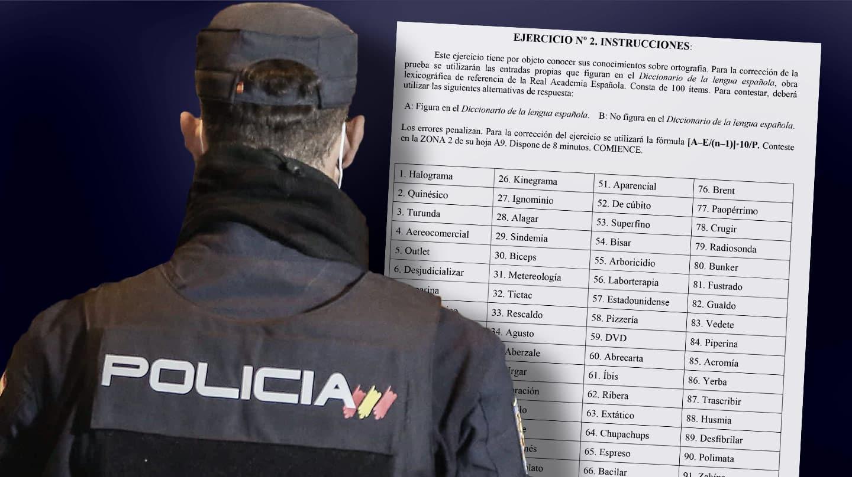 Imagen de un policía con un test de ortografia