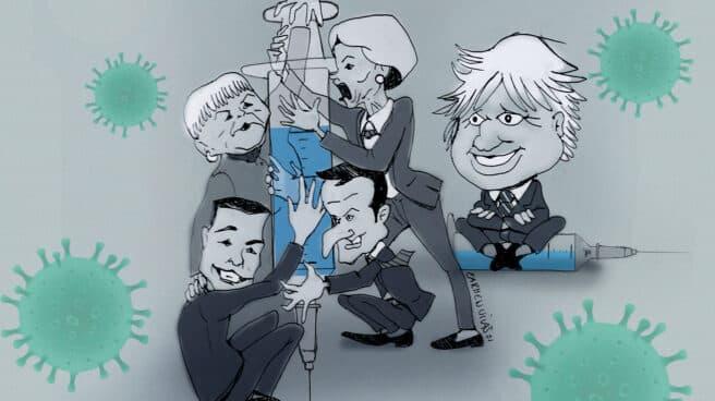 Caricatura de Merkel, Macron, Sánchez y Von der Leyen abrazando la vacuna y Boris Johnson mirando la escena jocoso