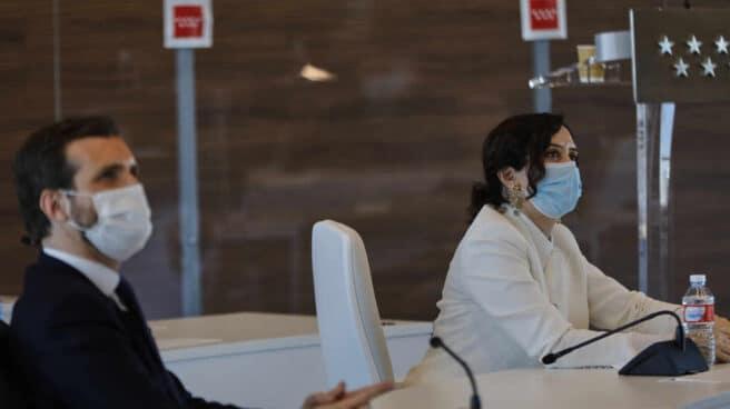 El líder del PP, Pablo Casado; y la presidenta de la Comunidad de Madrid, Isabel Díaz Ayuso.