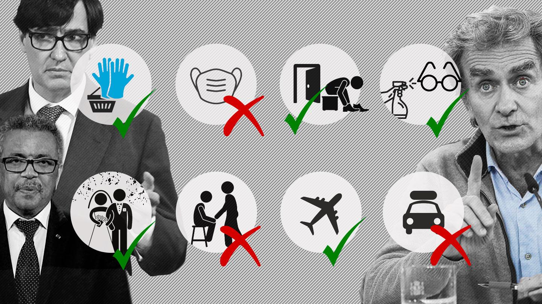 Collage de Fernando Simón, Salvador Illa y Tedros Adhanom Ghebreyesus con las contradicciones y restricciones que ha habido en el año de pandemia
