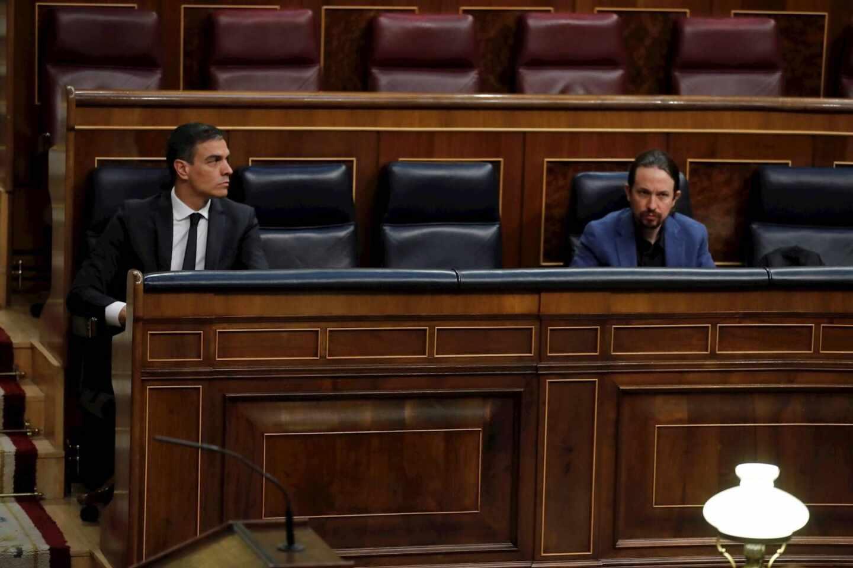 Sánchez e Iglesias en el Congreso