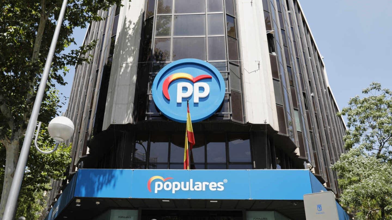 Edificio de la sede del PP, situado en la calle Génova, en Madrid.