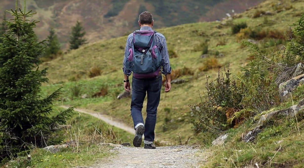 Un senderista por un camino rural.
