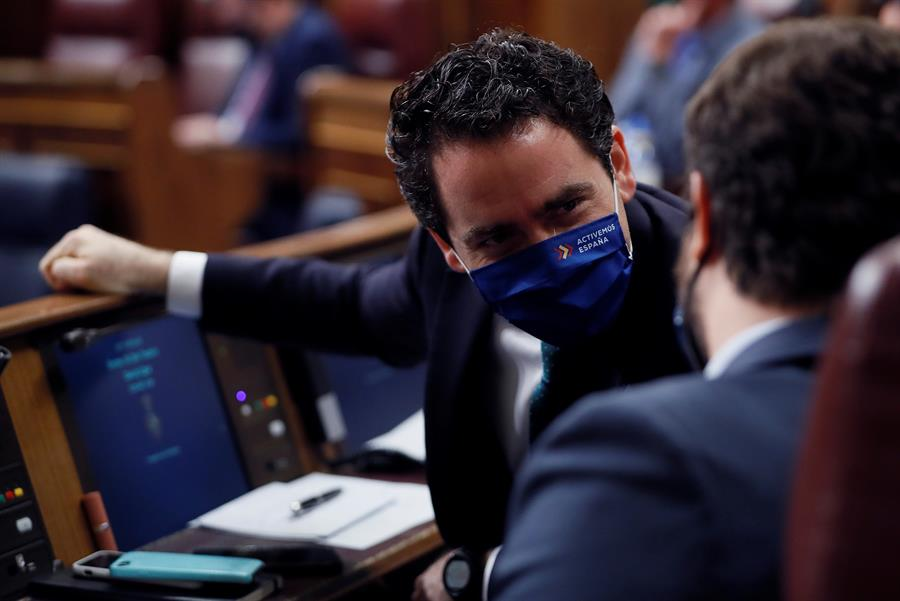 Teodoro García Egea y Pablo Casado, en el Congreso de los Diputados.