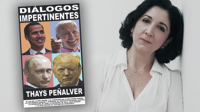 Imagen de Thays Peñalver con la portada de su libro Diálogos Impertinentes