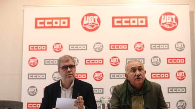 Unai Sordo (CCOO) y José Álvarez (UGT), en una comparecencia informativa conjunta.
