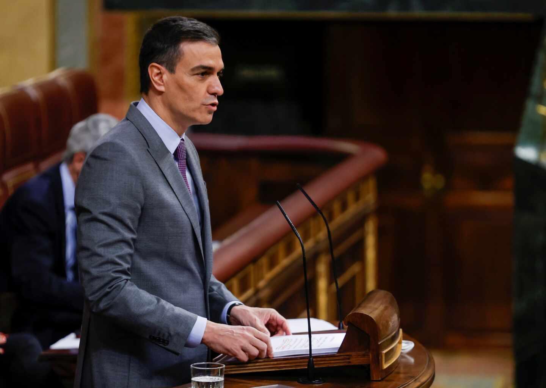 El presidente del Gobierno, Pedro Sánchez, durante la sesión de este miércoles en el Congreso.