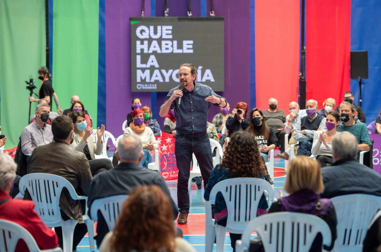 El candidato de Unidas Podemos a la Presidencia de la Comunidad, Pablo Iglesias, interviene durante un acto del partido