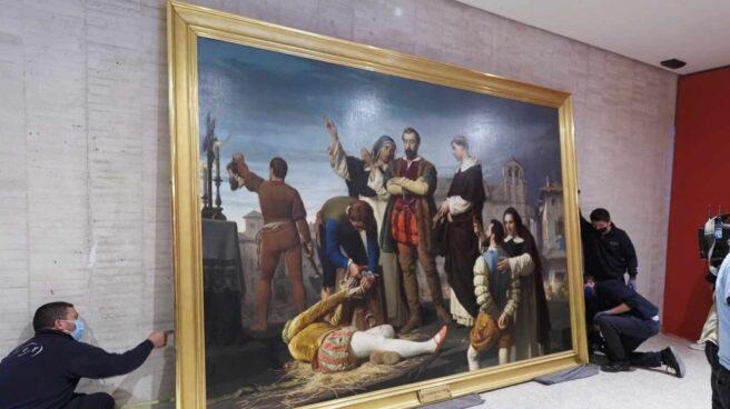 """Llegada a Valladolid del cuadro """"Ejecución de los comuneros de Castilla""""."""