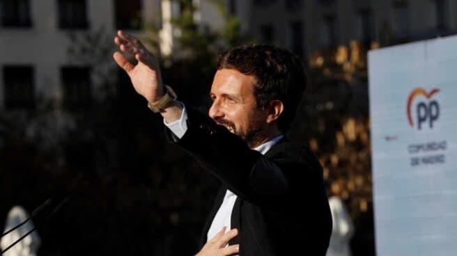 El presidente del PP, Pablo Casado, durante el acto de inicio de campaña a la presidencia de la Comunidad de Madrid