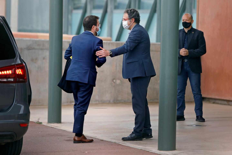 Pere Aragonés a su llegada a la prisión de Lledoners
