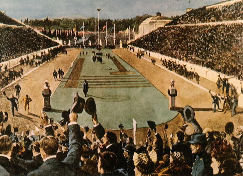 Pintura del momento en que el atleta griego Spyridon Louis da una vuelta de honor tras ganar el maratón